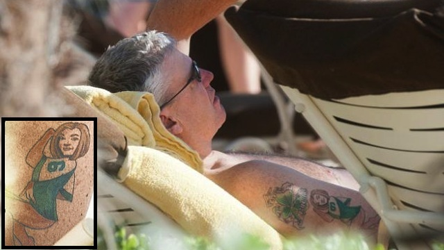 Rex Ryan's tattoo of his wife in a Mark Sanchez jersey.