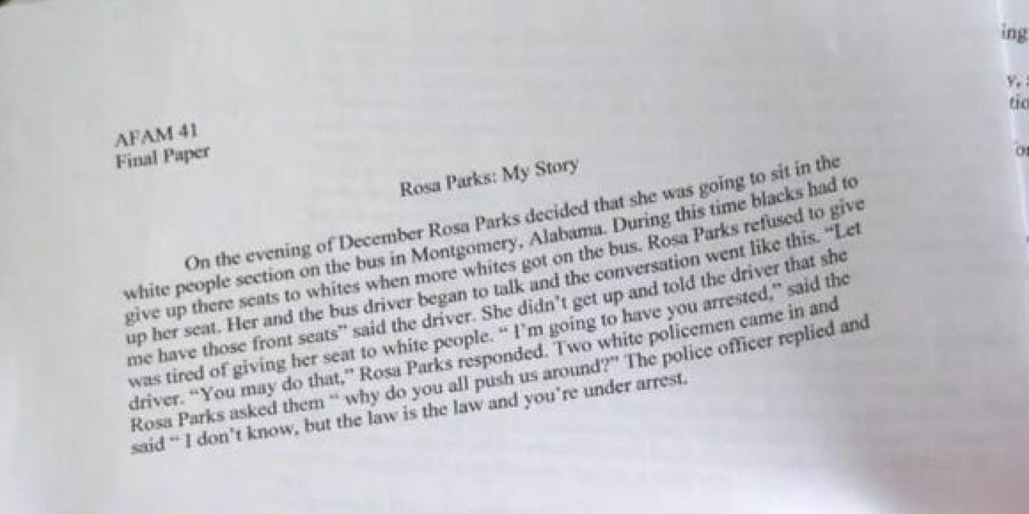 Essay on Rosa Parks